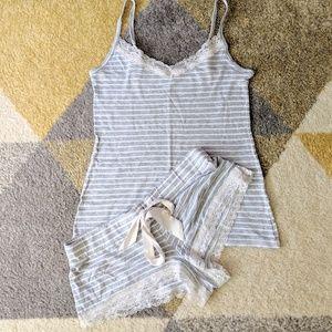 White and Grey Striped PJ Set - Size XS